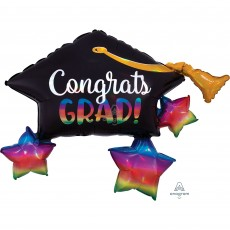 Graduation SuperShape Iridescent Grad Cap Shaped Balloon