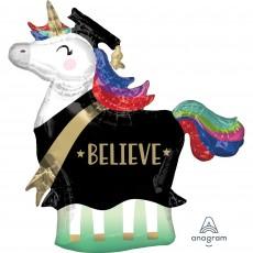 Graduation SuperShape Unicorn Believe Shaped Balloon 83cm x 81cm