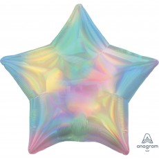 Star Pastel Rainbow Standard Holographic Iridescent Foil Balloon 45cm