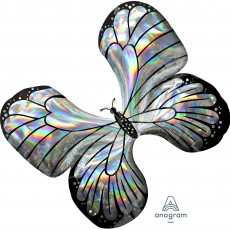 SuperShape Holographic Iridescent Butterfly Shaped Balloon 76cm x 66cm