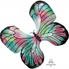 Iridescent SuperShape Holographic  Teal & Pink Butterfly Shaped Balloon