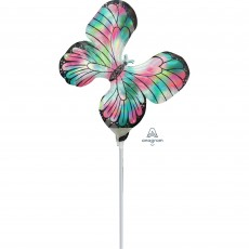 Iridescent Mini Holographic  Teal & Pink Butterfly Shaped Balloon
