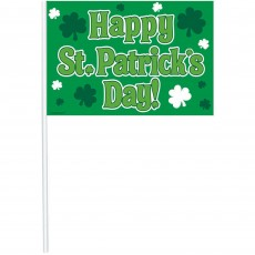 Flag Happy St Patrick's Day! Party Picks 26cm Pack of 12