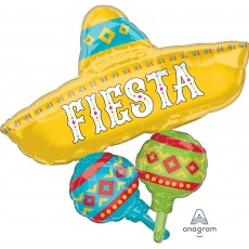 Mexican Fiesta SuperShape Papel Picado Hat FIESTA Shaped Balloon 78cm x 81cm
