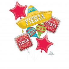 Mexican Fiesta Party Decorations - Shaped Balloons Bouquet Papel Picado