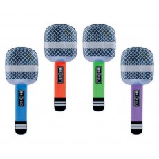 Rock n Roll Inflatable Microphones Shaped Balloons 26.6cm Pack of 4