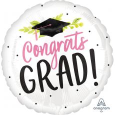 Round Graduation Standard HX Girl Congrats Grad! Foil Balloon 45cm