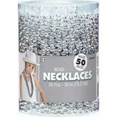Silver Bead Necklace Costume Accessories