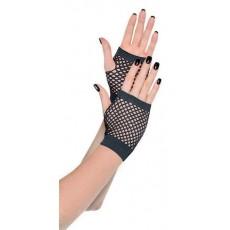 Black Short Fishnet Gloves Costume Accessorie