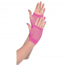 Pink Short Fishnet Gloves Adult Costume