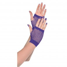 Purple Party Supplies - Short Fishnet Gloves