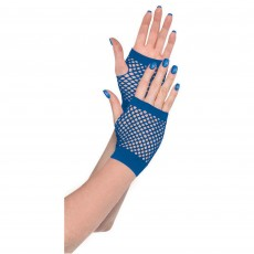 Blue Short Fishnet Gloves Costume Accessorie
