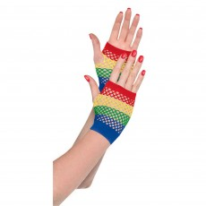 Rainbow Short Fishnet Gloves Costume Accessorie