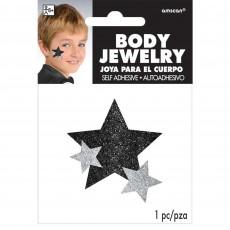 Black Party Supplies - Glitter Star Body Jewellery