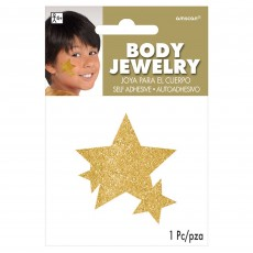 Gold Glitter Star Body Jewellery Costume Accessorie