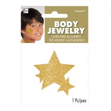 Gold Party Supplies - Glitter Star Body Jewellery