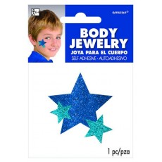 Blue Glitter Star Body Jewellery Costume Accessorie