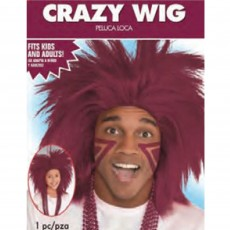State of Origin Burgundy Crazy Wig Head Accessorie