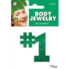 Number 1 Green Body Jewellery Costume Accessorie