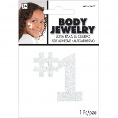 Number 1 Party Supplies - Body Jewellery White 12cm x 8.8cm