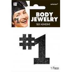 Number 1 Black Body Jewellery Costume Accessorie