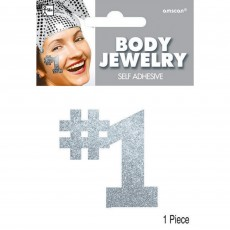 Number 1 Party Supplies - Body Jewellery Silver 12cm x 8.8cm