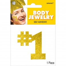 Number 1 Party Supplies - Body Jewellery Gold 12cm x 8.8cm