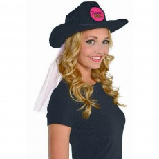 Hens Night Sassy Bride Cowboy Hat with Veil Head Accessorie