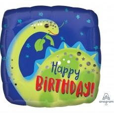 Square Standard HX Brontosaurus Dinosaur Happy Birthday! Shaped Balloon 45cm