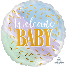 Round Baby Shower - General Standard HX Watercolor Welcome Baby Foil Balloon 45cm