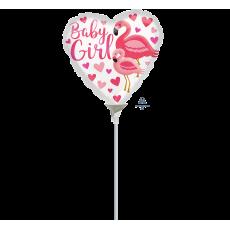 Heart Baby Shower - General Flamingo Baby Girl Shaped Balloon 10cm