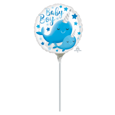 Round Baby Shower - General Narwhal Baby Boy Foil Balloon 22cm