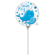 Round Baby Shower - General Narwhal Baby Boy Foil Balloon 10cm
