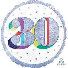 Round 30th Birthday Here's To Your Birthday Standard Holographic Foil Balloon 45cm