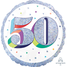 50th Birthday Here's to Your Birthday Standard Holographic Foil Balloon 45cm