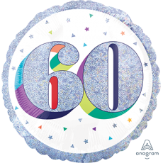 60th Birthday Here's To Your Birthday Standard Holographic Foil Balloon 45cm
