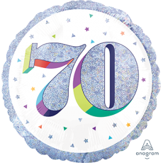 Round 70th Birthday Here's to Your Birthday Standard Holographic Foil Balloon 45cm