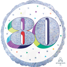 Round 80th Birthday Here's to Your Birthday Standard Holographic Foil Balloon 45cm