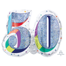 50th Birthday Here's to Your Birthday SuperShape Holographic Shaped Balloon