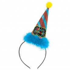 Happy Birthday Birthday Brights Cone Hat Headband Head Accessorie
