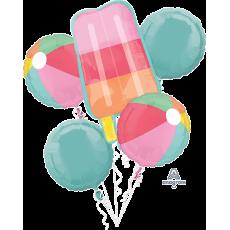 Hawaiian Just Chillin Beach Balls & Popsicle Bouquet Shaped Balloons