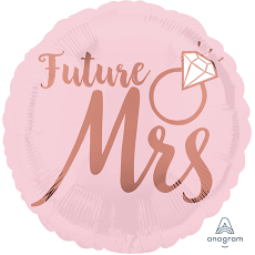Round Bridal Shower Blush Wedding Standard HX Future Mrs Foil Balloon 45cm