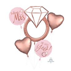 Bridal Shower Blush Wedding Bouquet Future Mrs - She Said Yes! Foil Balloons Pack of 5
