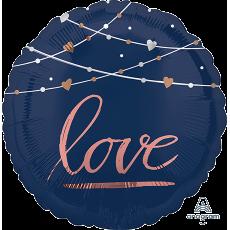 Round Bridal Shower Navy Bride Standard Love Foil Balloon 45cm