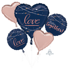 Bridal Shower Navy Bride Bouquet Better Together! Foil Balloons Pack of 5