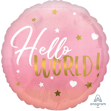 Round Pink Oh Baby Girl Standard HX Hello World! Foil Balloon
