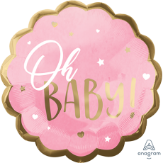 Oh Baby Girl Pink Jumbo HX Shaped Balloon