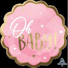 Oh Baby Girl Pink Jumbo HX Shaped Balloon