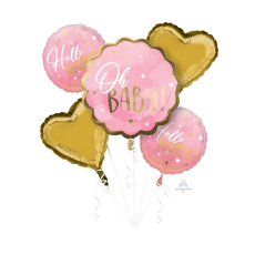 Pink Oh Baby Girl Bouquet Hello World! Oh Baby! Shaped Balloons Pack of 5