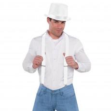 White Suspenders Costume Accessorie